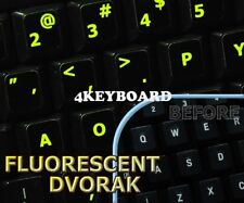 Glowing fluorescent Dvorak keyboard stickers