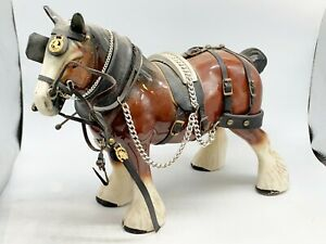 VINTAGE POTTERY OLD SHIRE HORSE WITH DRAY KIT SHIRE ORNAMENT FOR A BRASS CART