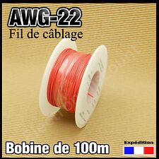 22R100# fil de câblage awg22 0,34mm²   100m rouge modélisme électronique..