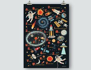 Space Alphabet poster, kids wall art, bedroom decor, children's art print, A2