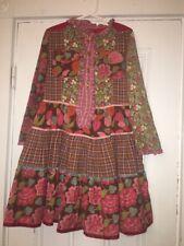 Room Seven Patchwork Corduroy Plaid Floral Dress Sz 122 US 6x EUC Long Sleeve