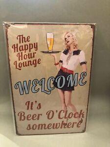 Nostalgie Blech Schild Beer Bier the happy hour lounge welcome 20 x 30 42003