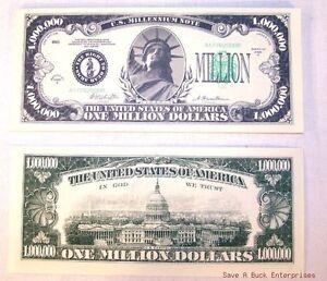 100 CLASSIC MILLION DOLLAR NOVELTY FAKE PLAY JOKE MONEY BILLS