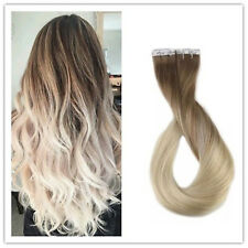 Full Shine Brown to Blonde Ombre Glue Tape in 100% Human Hair Extensions 5pcs