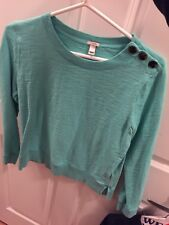 J Crew Teal Sweatshirt With Tortoise Buttons