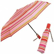NEW Signature Coach Peyton Pink Striped Automatic Retractable Umbrella 62572 $88