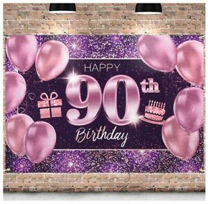 90th Birthday Banner Backdrop,90 Birthday Party Decorations Supplies(4 X 6ft)