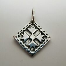 Goose Feet STERLING SILVER Quilt Square CHARM for Bracelet PENDANT Quilting Gift