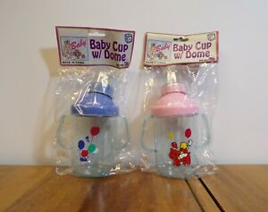 1 Blue and 1 Pink Spill-Proof Baby Bottle Cups with Dome Caps- Kitty & Balloons