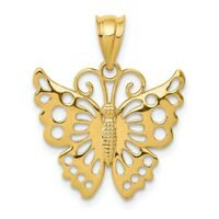 14k Butterfly Pendant New Charm Yellow Gold