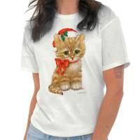 Adorable Kitten Santa Claus Holiday Xmas Gift Womens Short Sleeve Crewneck Tee