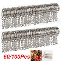50/100Pcs Keyring Blanks 25mm Silver Tone Keychain Key Fob Split Rings Chain DIY