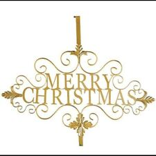 Victorian Trading Co Gilded Gold Merry Christmas Wreath Hanger