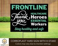 Thank You Sign Health Care 1st Responders /& Essential Workers W//Stakes 18 x 24/""