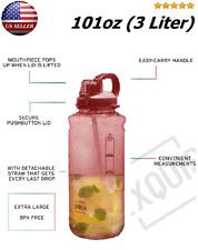 3 Liter BPA Free Large Sports Water Bottle 100 oz. Handle+ Straw No Leak Gallon