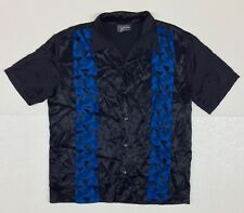 VINTAGE POP ICON ACETATE-RAYON CLUB SHIRT Black Large Made in USA
