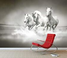 White Horse's Running Wall Mural Photo Wallpaper Wild Stallion Kids Bedroom