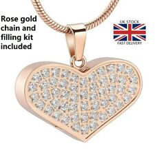 Rose Gold Diamante Heart Cremation Urn Pendant Ashes Necklace Funeral Memorial