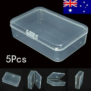 5x Plastic Clear Storage Box Container Jewellery Bead Craft Card Organiser Case