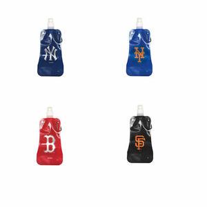 MLB Baseball 16 oz. Foldable Plastic Wine bag, Flask Water Bottle Pick your Team