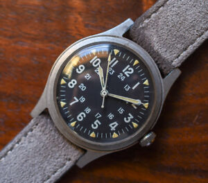 Vintage HAMILTON GG-W-113 Vietnam War Military Issue Hack Set Watch June 1971
