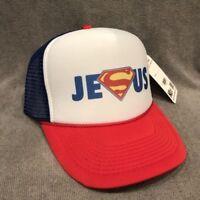 Jesus S Man Trucker Hat Vintage Style Snapback Christian God Cap Red WB2326