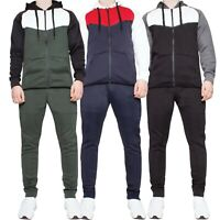 Mens Tracksuit Set Hoodie Top Elasticated Jogging Joggers Slim Fitted Bottoms