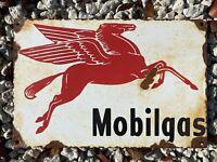 VINTAGE MOBIL GAS PORCELAIN METAL SIGN PEGASUS LUBE SERVICE STATION GARAGE SHOP