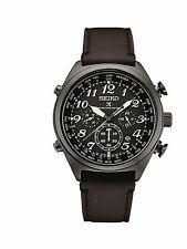 New Seiko SSG015 Radio Sync Solar Chronograph Brown Leather Strap Men's Watch