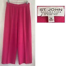 "ST JOHN Sz 10 Dark Pink Flat Front Santana Knit 29"" x 26"" Crop Wide Leg Pant EUC"