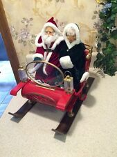 Extremely Rare Gemmy Animated lighted Christmas Sleigh Santa And Mrs Claus