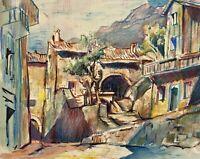 Acquerello Vicolo in il Centro Storico Liguria Cinque Terre Mediterraneo Riviera