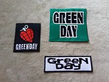 SET OF THREE HEAVY METAL PUNK ROCK MUSIC SEW ON / IRON ON PATCHES:- GREEN DAY