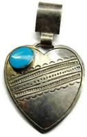 Large Heart Blue Turquoise Pendant Handmade Mexico Vintage Sterling Silver 925