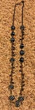 NWT Chico's Beaded Long Sweater Necklace Blue Brass Gold Bronze $49