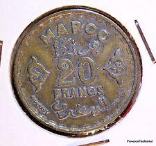 MAROC MOROCCO 20 FRANCS 1371 1950  EMPIRE CHERIFIEN BRONZE ACA837