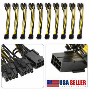 10PCS PCIE 8 pin Female to Dual PCI-E 8(6+2)pin Male GPU Power Cable Splitter US