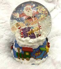 Christmas Santa Claus With Boys Sleeping On The Bed Musical Snow Globe