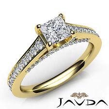 Princess Diamond Pave Engagement Ring GIA Certified G VS2 18k Yellow Gold 1.48Ct