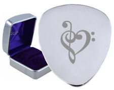 Music Heart Valentine Steel Guitar Plectrum Engraved - Optional Text On Box