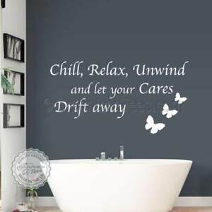 Bathroom Wall Sticker Chill Relax Unwind Inspirational Quote with Butterflies