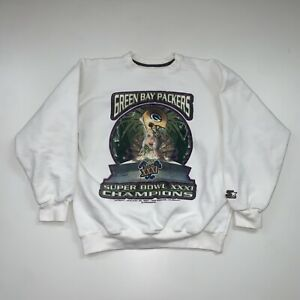 Vintage 90s Green Bay Packers Sweatshirt Size L NFL Football Super Bowl Champs