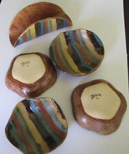 Jacque C. Pottery Individual Bowls with Napkin holder