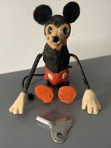 Rare 1950s/60s Schuco Mickey  Mouse Wind Up Miniature Tumbling Doll Works W/Key!