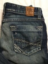BKE Starlite 25x31.5 Flare Jeans Med Wash Distressed Stretch Low Rise EUC
