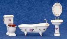 Dolls House Pink Rose & Gold Bathroom Suite Porcelain 1:12 Furniture Set