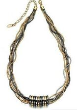 "Fiorelli Necklet 22"" 2oz 3-Tone Multi-Strand Snake Chain Empress Rings Necklace"