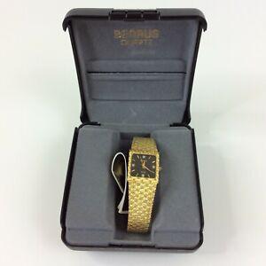 Vintage Benrus Watch Men Gold Tone Diamond Black Face New Battery In Box