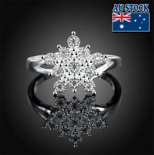 Classic 925 Sterling Silver Filled Clear Crystal Snowflake Flower Band Ring