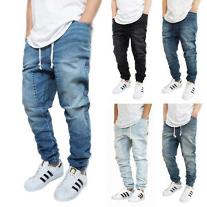 MEN'S DROP CROTCH DENIM JOGGER PANTS 5 COLORS S-5XL BIG&TALL *FAST SHIPPING*